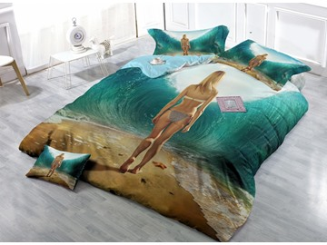 Sexy Beach Girl Print Satin Drill 4-Piece Duvet Cover Sets