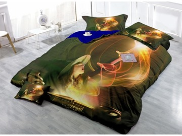 Stunning Little Witch Print Satin Drill 4-Piece Duvet Cover Sets
