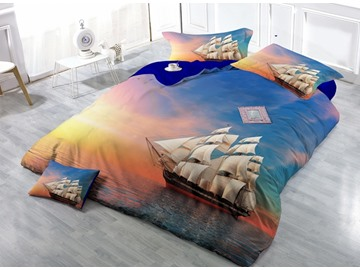 Sunset Ocean Sailing Ship Print Satin Drill 4-Piece Duvet Cover Sets