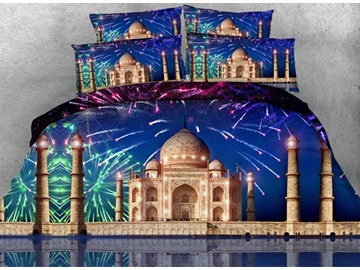 3D Fireworks and Castle Printed Cotton 4-Piece Bedding Sets/Duvet Covers