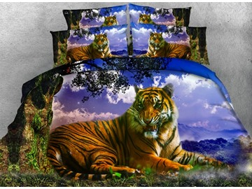 Lying Tiger and Tree printed Cotton 4-Piece 3D Bedding Sets/Duvet Covers