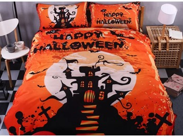 3D Happy Halloween and Castle Printed Polyester 4-Piece Bedding Sets/Duvet Covers