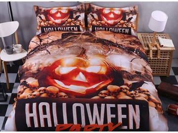 3D Halloween Party and Pumkin Printed Polyester 4-Piece Bedding Sets/Duvet Covers