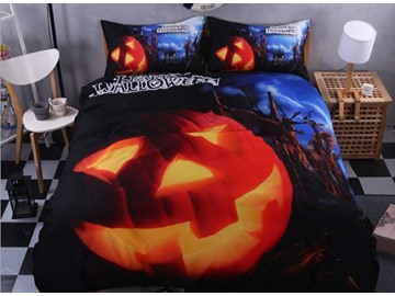 3D Halloween Pumpkin Printed Polyester 4-Piece Blue Bedding Sets/Duvet Covers
