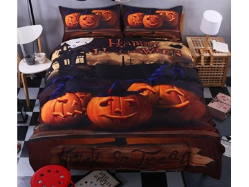 3D Smiling Halloween Pumpkins Printed Polyester 4-Piece Bedding Sets/Duvet Covers