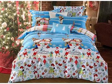 Lovely Christmas Snowman Print 4-Piece Cotton Duvet Cover Sets