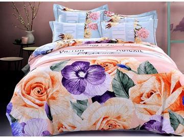 Elegant Vivid Rose Print 4-Piece Cotton Duvet Cover Sets