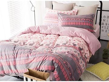Elegant Christmas Reindeer Print Pink 4-Piece Flannel Duvet Cover Sets