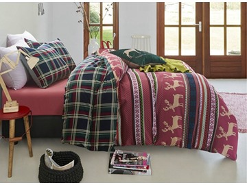 Gorgeous Christmas Elk and Stripe Print Red 4-Piece Duvet Cover Sets
