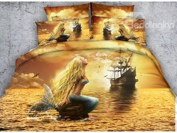 3D Mermaid and Ship Printed Cotton 4-Piece Bedding Sets/Duvet Covers