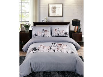 3D Husky Puppies Digital Printing 5-Piece Comforter Sets