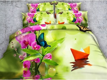 Elegant Phalaenopsis and Butterfly Print 4-Piece Duvet Cover Sets