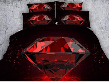 3D Red Diamond Printed Cotton 4-Piece Bedding Sets/Duvet Covers