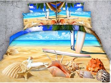 Sea Shell and Starfish on Tropical Beach Print 4-Piece 3D Bedding Sets/ Duvet Covers