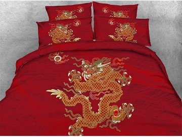 Festive Chinese Golden Dragon Print Red 4-Piece Duvet Cover Sets