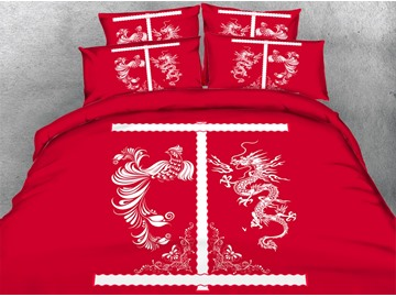 Chinese Dragon and Phoenix Print Red 5-Piece Comforter Sets