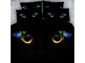 3D Astonishing Cat Eyes Printed Cotton 4-Piece Black Bedding Sets/Duvet Covers