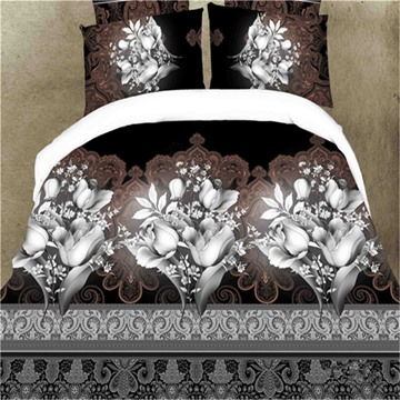 Exotic Style Floral Print 4-Piece Polyester Duvet Cover Sets