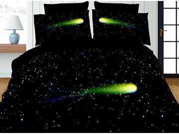 Dazzling Galaxy Print Green 4-Piece Polyester 3D Duvet Cover Sets
