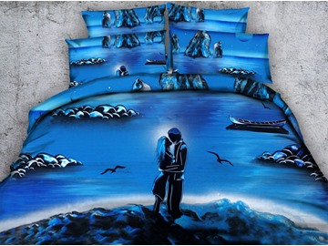 Fancy 3D Romantic Lovers Print Blue 4-Piece Duvet Cover Sets