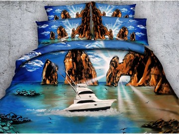 Beautiful Sea View and Yacht Print 5-Piece Comforter Sets