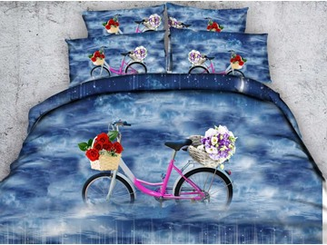 Fancy Bicycle with Basket of Colorful Flowers Print 5-Piece Comforter Sets