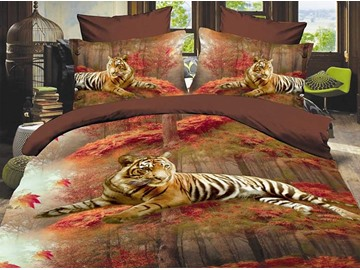 Siberian Tiger 3D Printed Polyester 4-Piece Bedding Sets