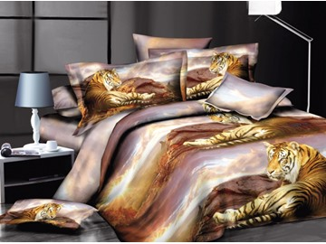 3D Siberian Tiger Printed Polyester 4-Piece Bedding Sets