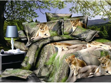 3D Lying Lion Printed Polyester 4-Piece Bedding Sets