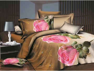 Pink Rose and Ring Print 4-Piece Polyester Duvet Cover Sets
