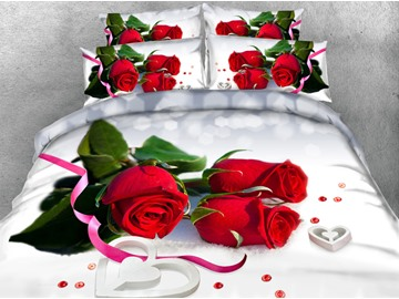 3D Red Roses Printed 5-Piece Tencel Comforter Sets