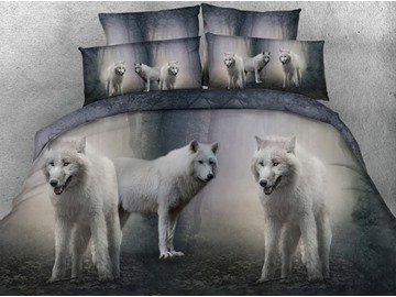 Snow Wolves 3D Printed 5-Piece Tencel Comforter Sets