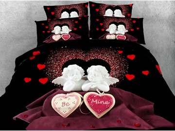 Cupid and Heart 3D Printed 5-Piece Tencel Comforter Sets