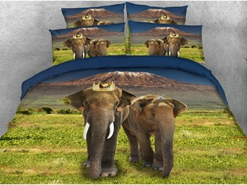 3D Elephant Digital Printing 5-Piece Tencel Comforter Sets
