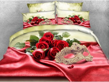 3D Red Roses and Golden Mask Digital Printing 5-Piece Comforter Sets