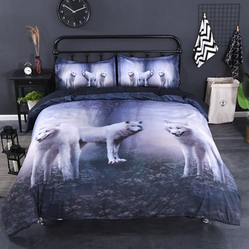Snow Wolves in the Woods 3D Printed 4-Piece Bedding Sets
