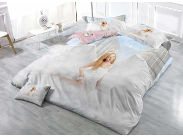 Golden Hair Angel Smiling Cotton Luxury 3D Printed 4-Pieced Bedding Sets/Duvet Covers