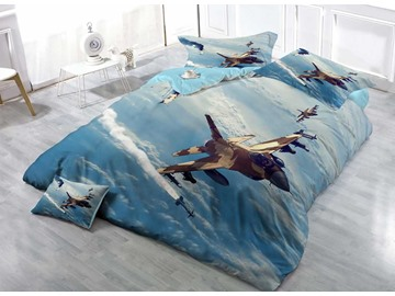 Military Aircraft Soaring above Ocean Cotton Luxury 3D Printed 4-Pieces Bedding Sets/Duvet Covers