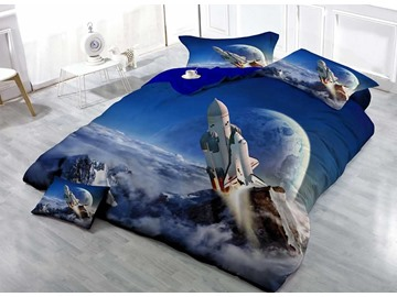 3D Rocket Printed Cotton 4-Piece Bedding Sets/Duvet Covers