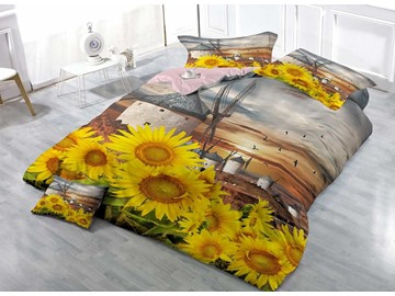 Sunflower and Windmill Cotton 4-Piece Bedding Sets/Duvet Covers