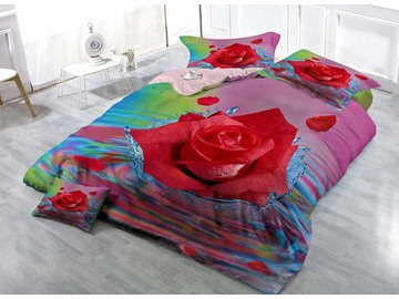 Red Rose in Water Cotton 3D Printed 4-Pieces Luxurious Bedding Sets/Duvet Covers