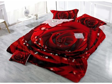 3D Red Rose Digital Printing Cotton 4-Piece Bedding Sets/Duvet Covers