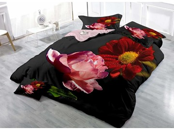 Pink Rose and Red Dahlia Cotton Luxury 3D Printed 4-Pieces Bedding Sets