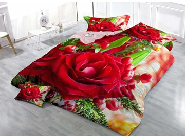 Cluster of Red Rose Cotton 3D Printed 4-Pieces Luxurious Bedding Sets/Duvet Covers