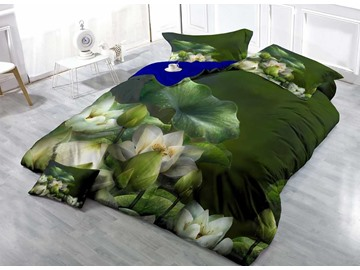 Dark Green Water Lily Cotton Luxury 3D Printed 4-Pieces Bedding Sets