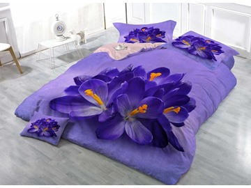 Crocus Flower Purple 3D Printed Cotton 4-Pieces Bedding Sets/Duvet Covers