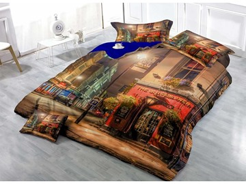 3D Europe Streetscape Printed Cotton 4-Pieces Bedding Sets/Duvet Covers