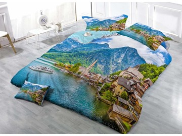 3D Seaside City Printed Cotton 4-Piece Bedding Sets/Duvet Covers