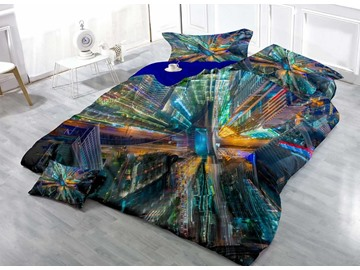 3D Metropolis Printed Cotton 4-Piece Bedding Sets/Duvet Covers