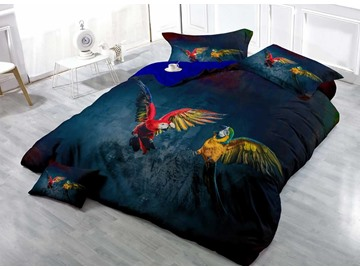 Flying Parrots 3D Printed Cotton 4-Piece Bedding Sets/Duvet Covers